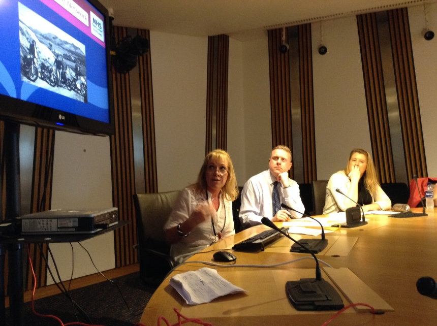 Marina Di Marco telling the Cross Party Group on Rare Diseases about the Scottish Muscle Network.