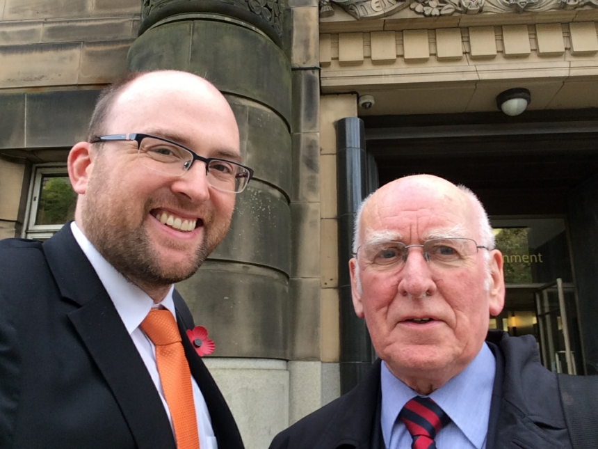 Dan Farthing and Philip Dolan leaving a meeting with the Chief Dental Officer for Scotland at St Andrews House