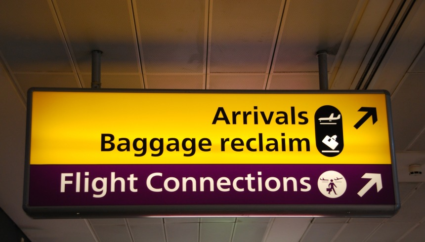 Informational signs at the airport